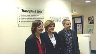 Fraser Sneddon, Nicola Sturgeon and Lesley Ross