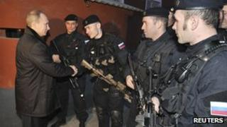 Vladimir Putin meets Russian special forces in Chechnya (20 December 2011)