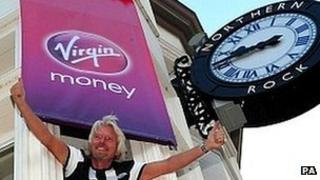 Sir Richard Branson at rebranded Northern Rock branch