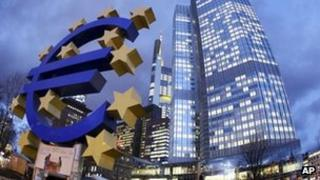 The euro sculpture in front of the ECB in Frankfurt