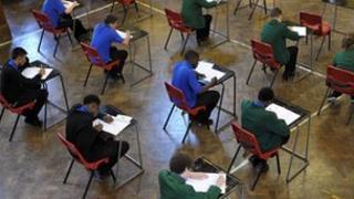 Students in GCSE exam