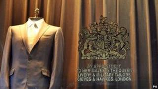 The Royal Warrant on the The front window of Gieves and Hawkes