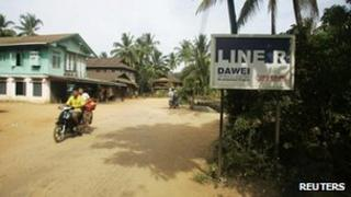 A sign indicating the special economic zone in Dawei, Burma, on 19 November, 2011
