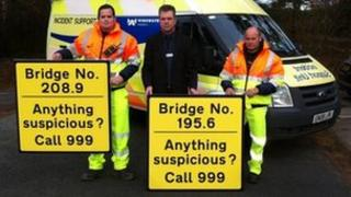 Signs for bridges on the A14 and A12