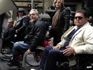 Protest by Greek disabled in Athens, 13 Dec 11