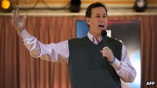 Rick Santorum addresses a town hall meeting at the Salem Elks Lodge in Salem, New Hampshire 9 January 2012