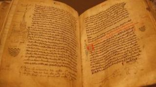 Hand-written cartulary by the Augustinian monks from Lanercost at the Carlisle archive centre