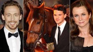 War Horse stars Tom Hiddleston, Jeremy Irvine (with 'Joey') and Emily Watson