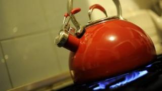 Kettle on gas hob
