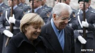 German Chancellor Angela Merkel welcomes Italian PM Mario Monti to Berlin (11 Jan 2012)