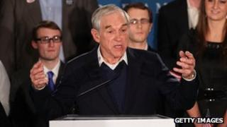 Ron Paul speaks at a rally