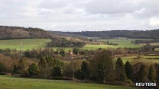 A view of countryside seen from Bacombe Lane in the Chilterns.