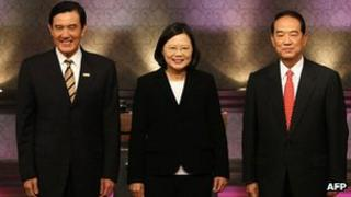 (From left) Taiwan President Ma Ying-jeou, main opposition presidential candidate Tsai Ing-wen and independent presidential candidate James Soong
