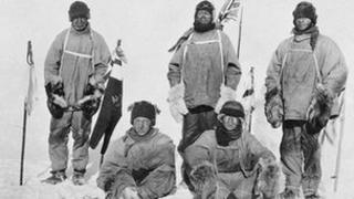Standing, left to right - Capt Lawrence Oates, Capt Robert Falcon Scott, PO Edgar Evans. Seated, left to right - Lt Henry Bowers, Dr Edward Adrian Wilson