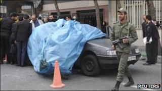 Car belonging to killed Iranian nuclear scientist Mostafa Ahmadi-Roshan
