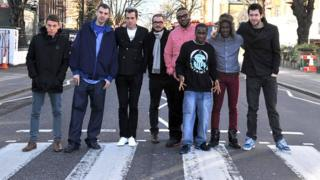 BBC Radio DJs on the Abbey Road crossing