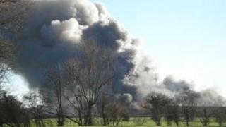 Smoke from the fire in Frittenden, near Staplehurst