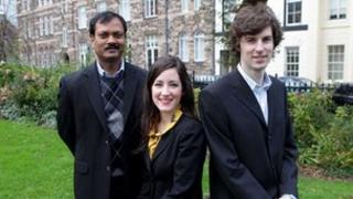 DeskStream CEO, Rao Cherukuri, with WorldDesk co-founders, Jonathan Chesney and Claire Moore,