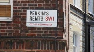 Westminster street sign