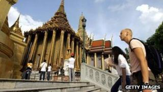 Foreign tourists at the Golden Buddha temple in Bangkok, Thailand (file image)