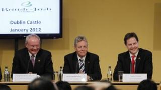Martin McGuinness, Peter Robinson and Nick Clegg