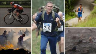 Cycling in an ironman, fire running, man running, swimming race