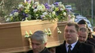 The funeral of Mr and Mrs Metcalf