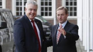 First Minister of Wales Carwyn Jones (left) is greeted by Taoiseach Enda Kenny at Dublin Castle for the the British-Irish Council summit.