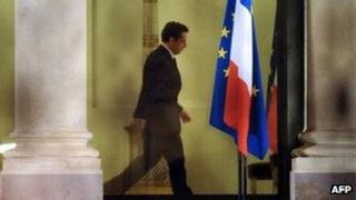 French president Nicolas Sarkozy is pictured at the Elysse palace on January 13, 2012 in Paris