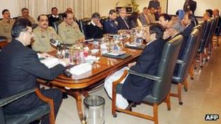 Pakistani PM Yousuf Raza Gilani chairs defence committee meeting. 14 Jan 2010