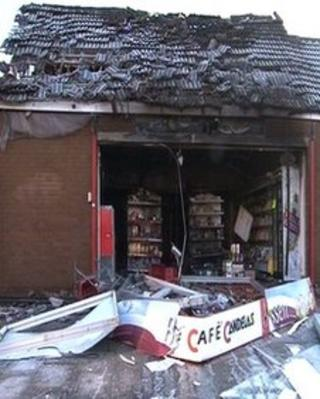 The fire hit shop suffered extensive damage to its roof and interior