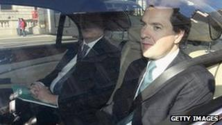 George Osborne and Danny Alexander in a ministerial car