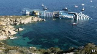 The Costa Concordia on its side alongside the rocks where it ran aground