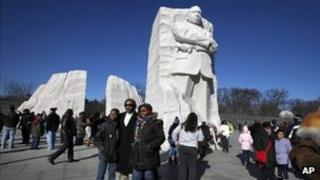 Martin Luther King memorial on MLK Day 16 January 2012