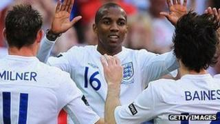 England players celebrate a goal