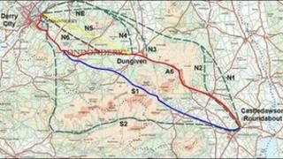 Routes examined for the by-pass around Dungiven. (Ordinance Survey NI)