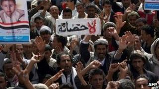 Protesters in Saleh demand Ali Abdullah Saleh face prosecution for the deaths of protesters (16 January 2012)