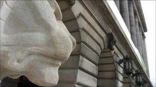 Left lion in front of Nottingham's Council House