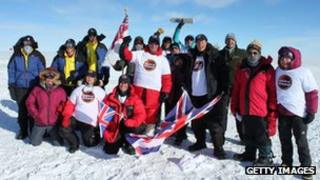 Players in a memorial cricket match at the South Pole