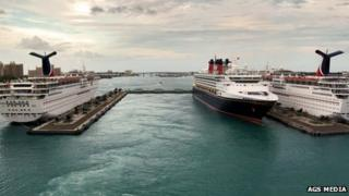 Prince George Wharf, in Nassau Harbour - left to right MS Carnival Fascination, MS Disney Wonder, MS Carnival Sensation