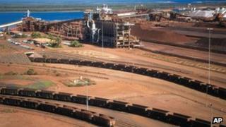 BHP's iron ore depot in Port Headland, Australia