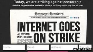 WordPress anti-Sopa screen grab