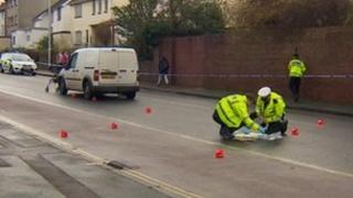 Police van collision scene
