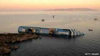 The Costa Concordia lies on its side off Giglio island, 18 January 2012.