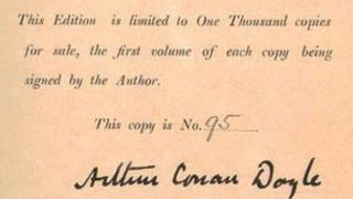 Arthur Conan Doyle's signature in the front of a copy of White Company