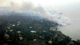 Lava hitting Lake Kivu in January 2002 from the erupting Nyiragongo volcano