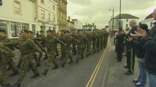 Troops march through Chippenham