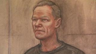 Artist's impression of Rimvydas Liorancas in court