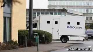 Secure van arriving at a custody centre in Sussex