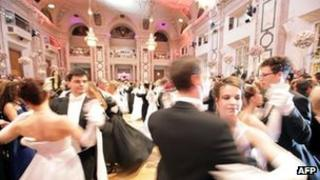 Young couples dance as the Vienna ball season opened on 31 December 2011